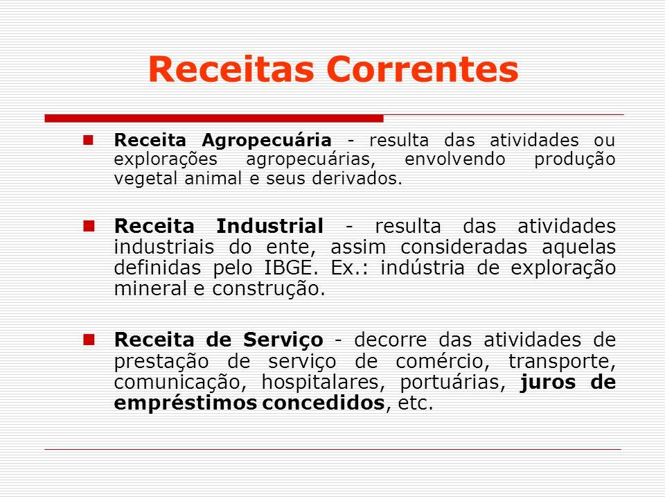 Receitas Correntes Receita Agropecuária - resulta das atividades ou explorações agropecuárias, envolvendo produção vegetal animal e seus derivados. Re