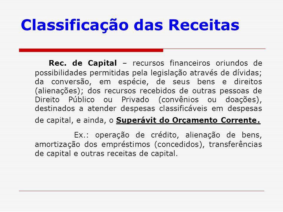 Classificação das Receitas Rec. de Capital – recursos financeiros oriundos de possibilidades permitidas pela legislação através de dívidas; da convers