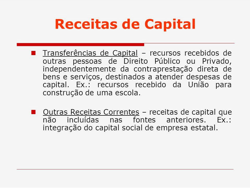 Receitas de Capital Transferências de Capital – recursos recebidos de outras pessoas de Direito Público ou Privado, independentemente da contraprestaç