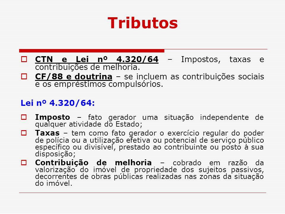 Tributos  CTN e Lei nº 4.320/64 – Impostos, taxas e contribuições de melhoria.  CF/88 e doutrina – se incluem as contribuições sociais e os emprésti