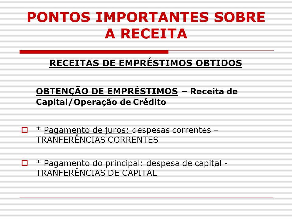 PONTOS IMPORTANTES SOBRE A RECEITA RECEITAS DE EMPRÉSTIMOS OBTIDOS OBTENÇÃO DE EMPRÉSTIMOS – Receita de Capital/Operação de Crédito  * Pagamento de j