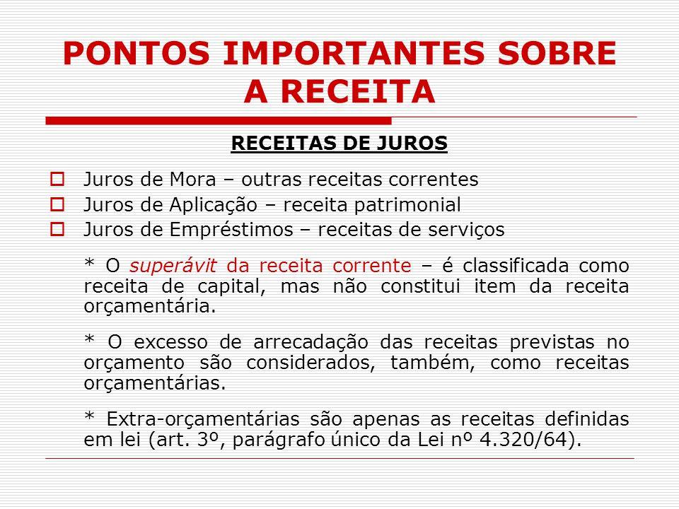 PONTOS IMPORTANTES SOBRE A RECEITA RECEITAS DE JUROS  Juros de Mora – outras receitas correntes  Juros de Aplicação – receita patrimonial  Juros de