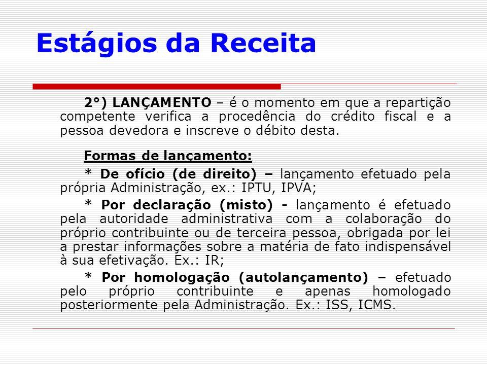 Estágios da Receita 2°) LANÇAMENTO – é o momento em que a repartição competente verifica a procedência do crédito fiscal e a pessoa devedora e inscrev