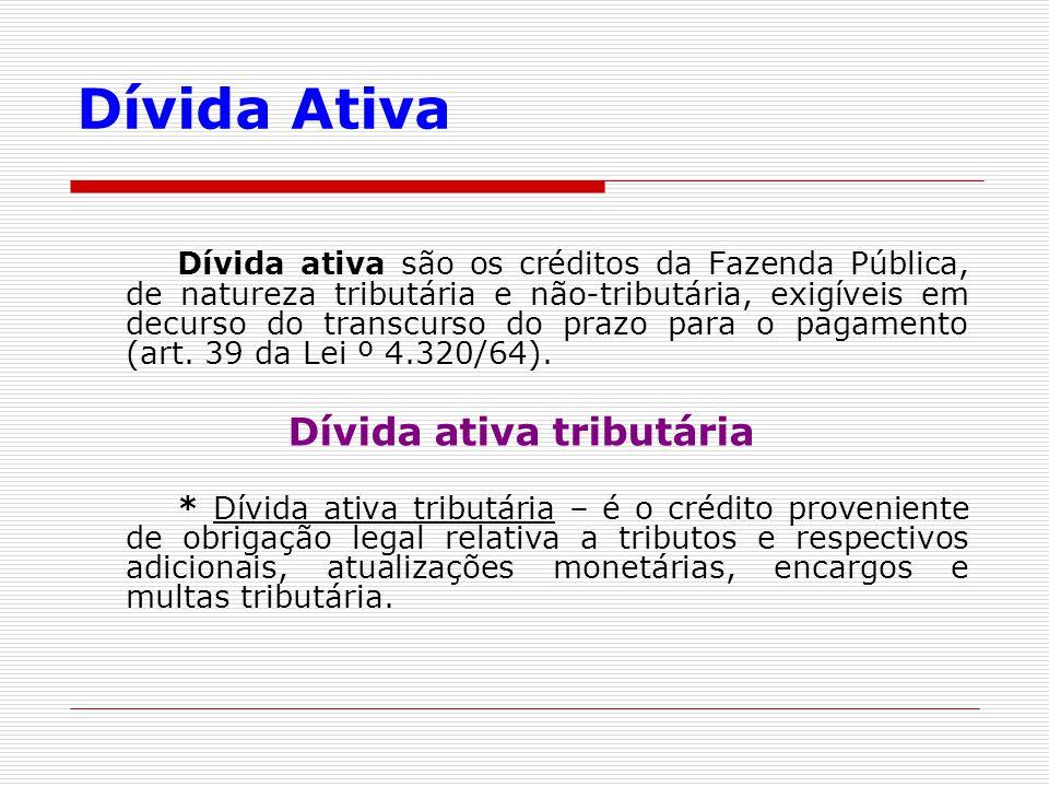 Dívida Ativa Dívida ativa são os créditos da Fazenda Pública, de natureza tributária e não-tributária, exigíveis em decurso do transcurso do prazo par