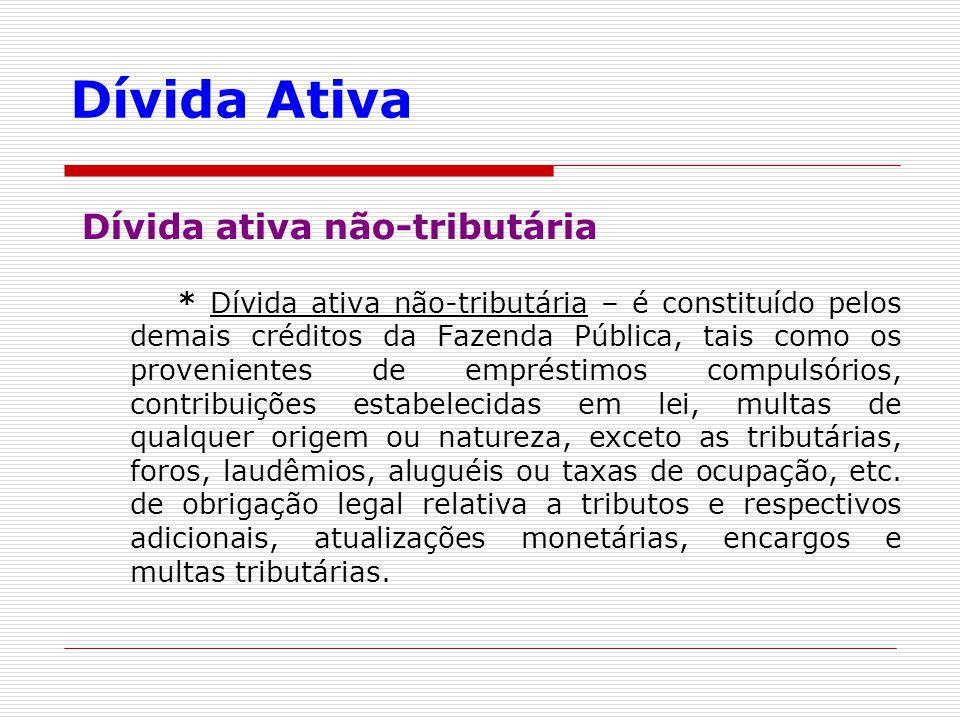 Dívida Ativa Dívida ativa não-tributária * Dívida ativa não-tributária – é constituído pelos demais créditos da Fazenda Pública, tais como os provenie