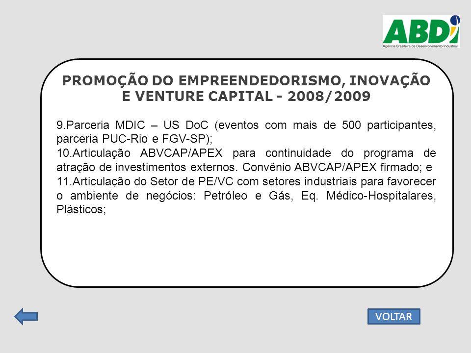 PROMOÇÃO DO EMPREENDEDORISMO, INOVAÇÃO E VENTURE CAPITAL - 2008/2009 9.Parceria MDIC – US DoC (eventos com mais de 500 participantes, parceria PUC-Rio