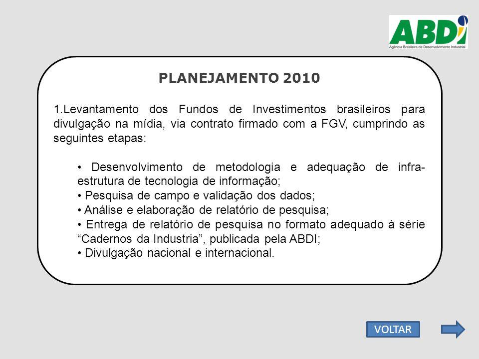PLANEJAMENTO 2010 1.Levantamento dos Fundos de Investimentos brasileiros para divulgação na mídia, via contrato firmado com a FGV, cumprindo as seguin