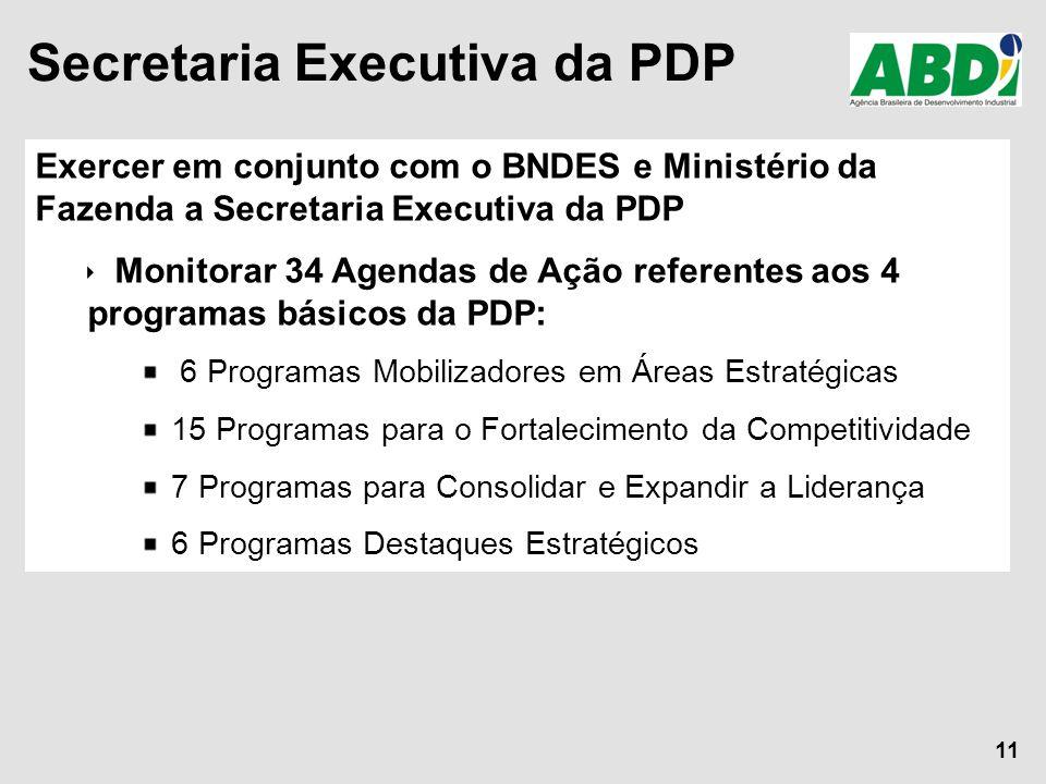 11 Exercer em conjunto com o BNDES e Ministério da Fazenda a Secretaria Executiva da PDP  Monitorar 34 Agendas de Ação referentes aos 4 programas bás