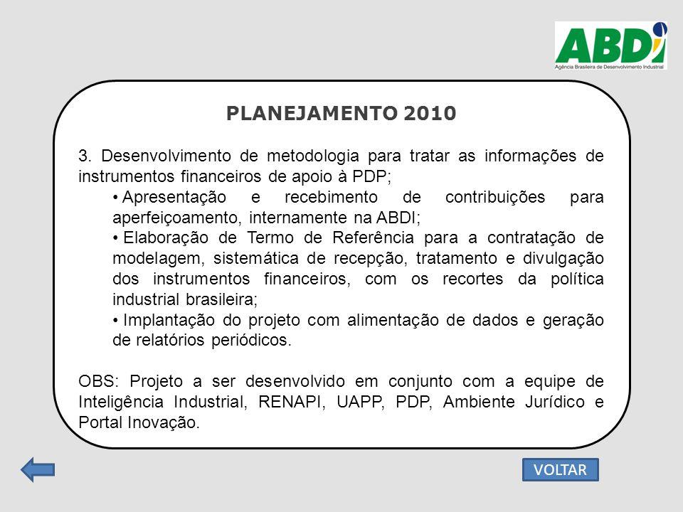 PLANEJAMENTO 2010 3. Desenvolvimento de metodologia para tratar as informações de instrumentos financeiros de apoio à PDP; Apresentação e recebimento