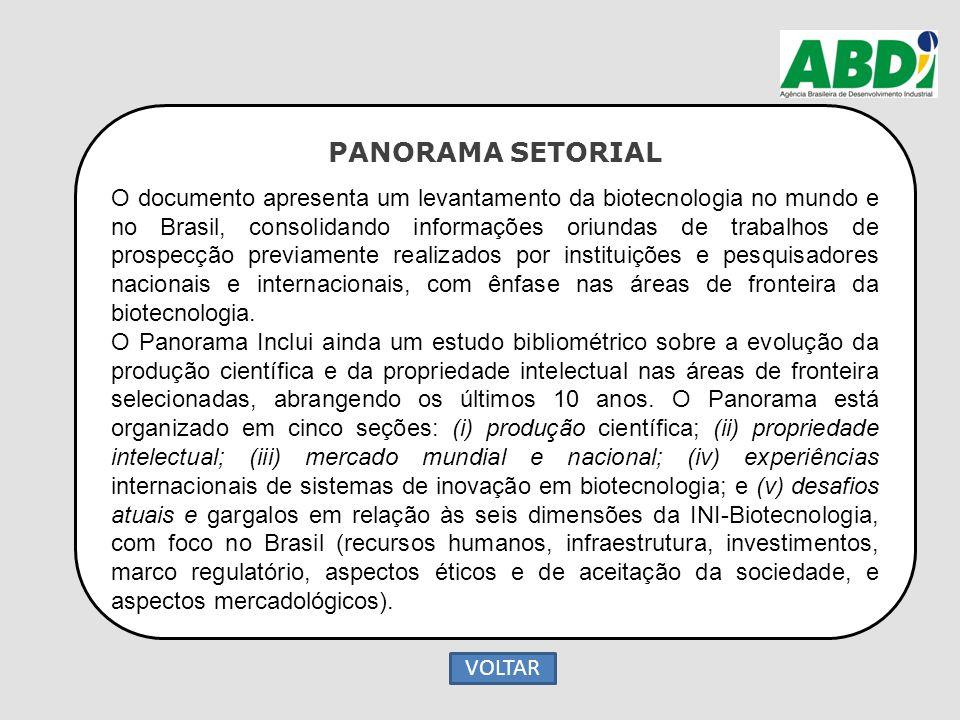PANORAMA SETORIAL O documento apresenta um levantamento da biotecnologia no mundo e no Brasil, consolidando informações oriundas de trabalhos de prosp