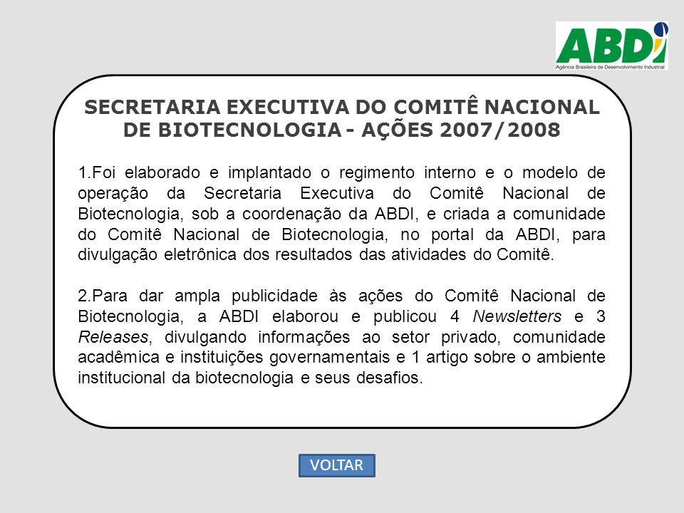 SECRETARIA EXECUTIVA DO COMITÊ NACIONAL DE BIOTECNOLOGIA - AÇÕES 2007/2008 1.Foi elaborado e implantado o regimento interno e o modelo de operação da