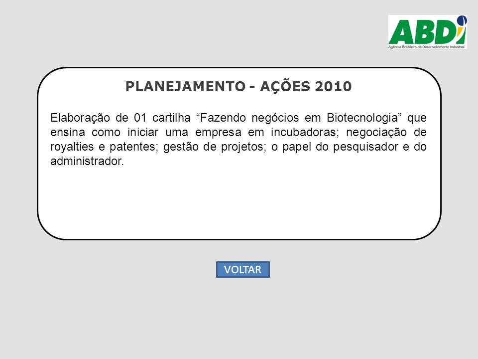 """PLANEJAMENTO - AÇÕES 2010 Elaboração de 01 cartilha """"Fazendo negócios em Biotecnologia"""" que ensina como iniciar uma empresa em incubadoras; negociação"""