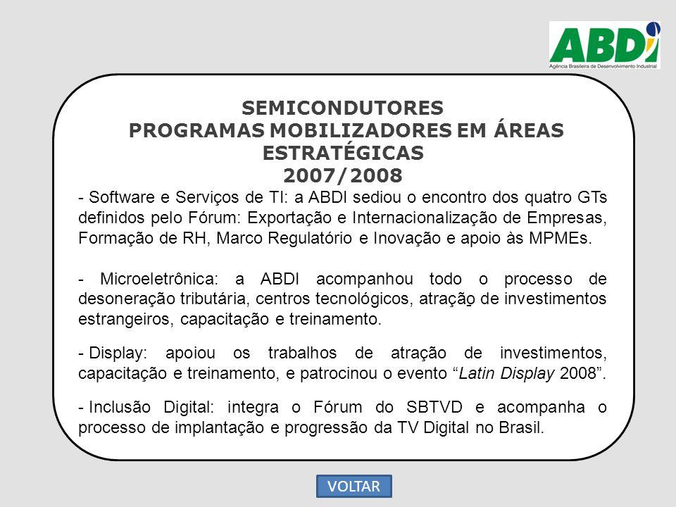 SEMICONDUTORES PROGRAMAS MOBILIZADORES EM ÁREAS ESTRATÉGICAS 2007/2008 - Software e Serviços de TI: a ABDI sediou o encontro dos quatro GTs definidos