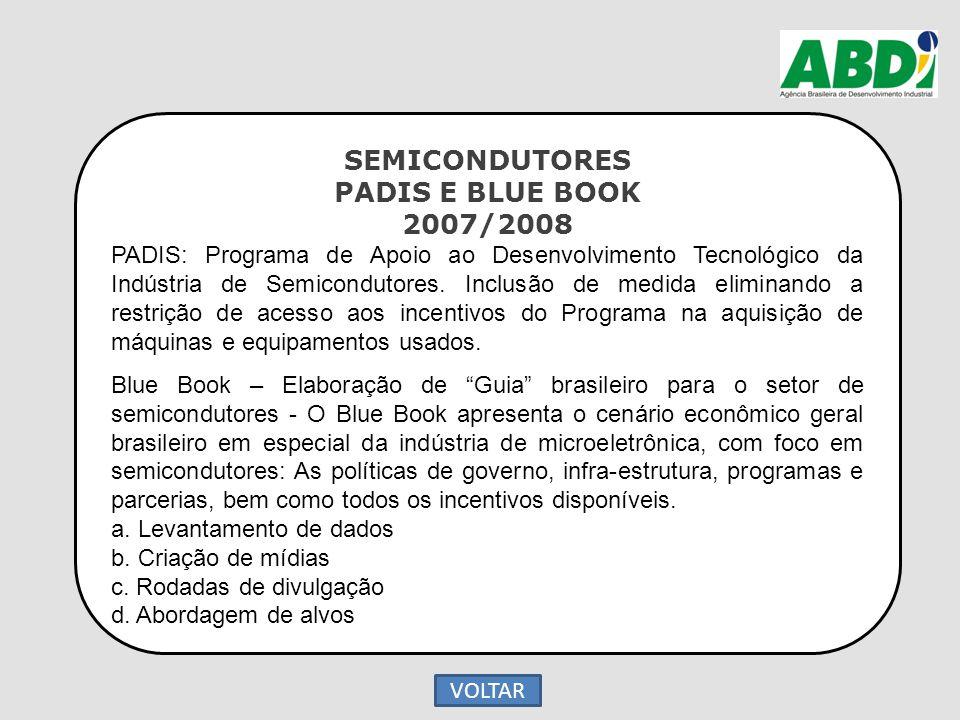 SEMICONDUTORES PADIS E BLUE BOOK 2007/2008 PADIS: Programa de Apoio ao Desenvolvimento Tecnológico da Indústria de Semicondutores. Inclusão de medida