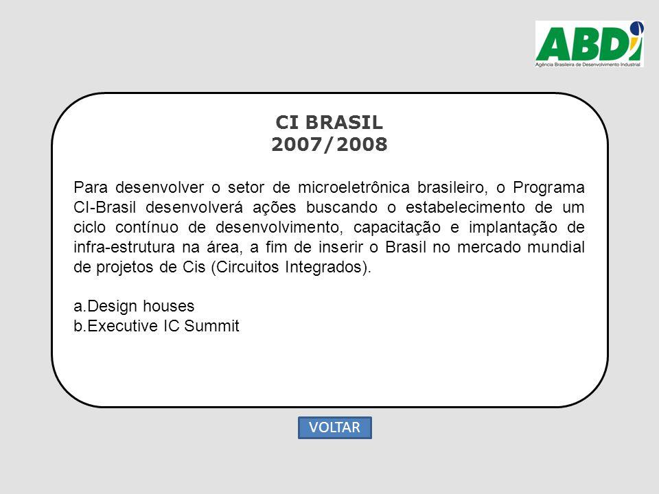CI BRASIL 2007/2008 Para desenvolver o setor de microeletrônica brasileiro, o Programa CI-Brasil desenvolverá ações buscando o estabelecimento de um c