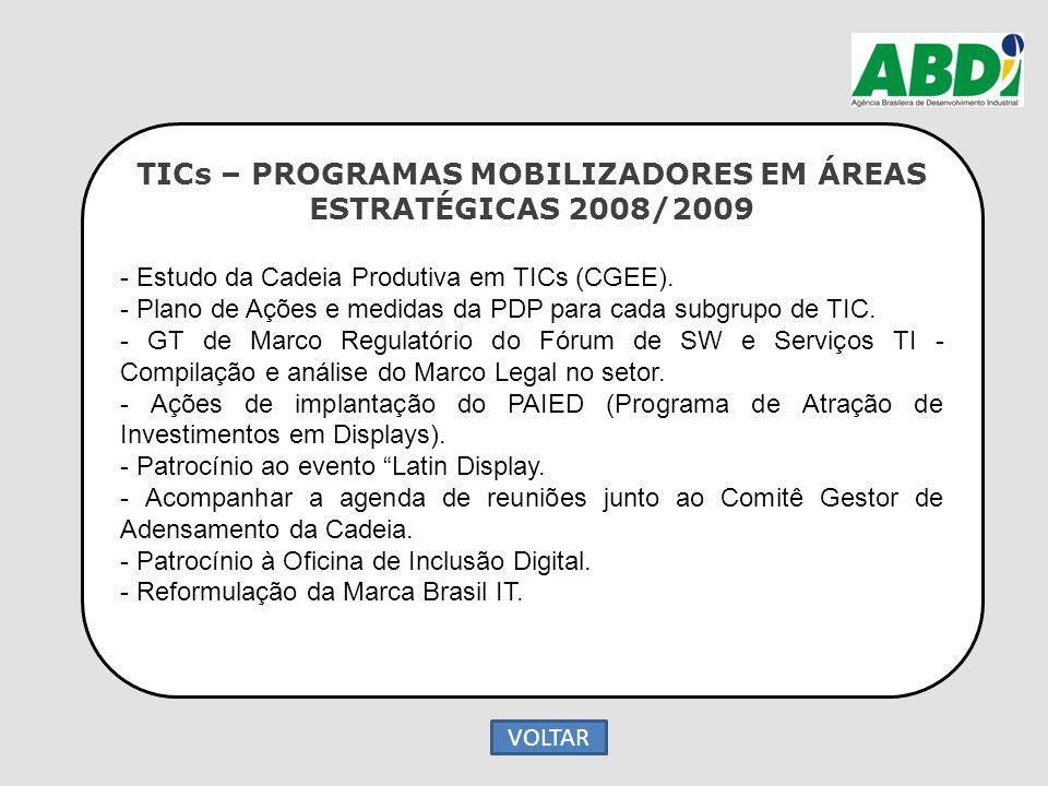 TICs – PROGRAMAS MOBILIZADORES EM ÁREAS ESTRATÉGICAS 2008/2009 - Estudo da Cadeia Produtiva em TICs (CGEE). - Plano de Ações e medidas da PDP para cad