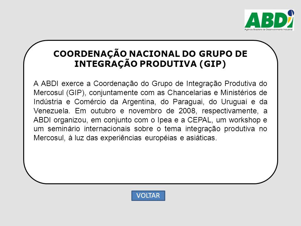 COORDENAÇÃO NACIONAL DO GRUPO DE INTEGRAÇÃO PRODUTIVA (GIP) A ABDI exerce a Coordenação do Grupo de Integração Produtiva do Mercosul (GIP), conjuntame