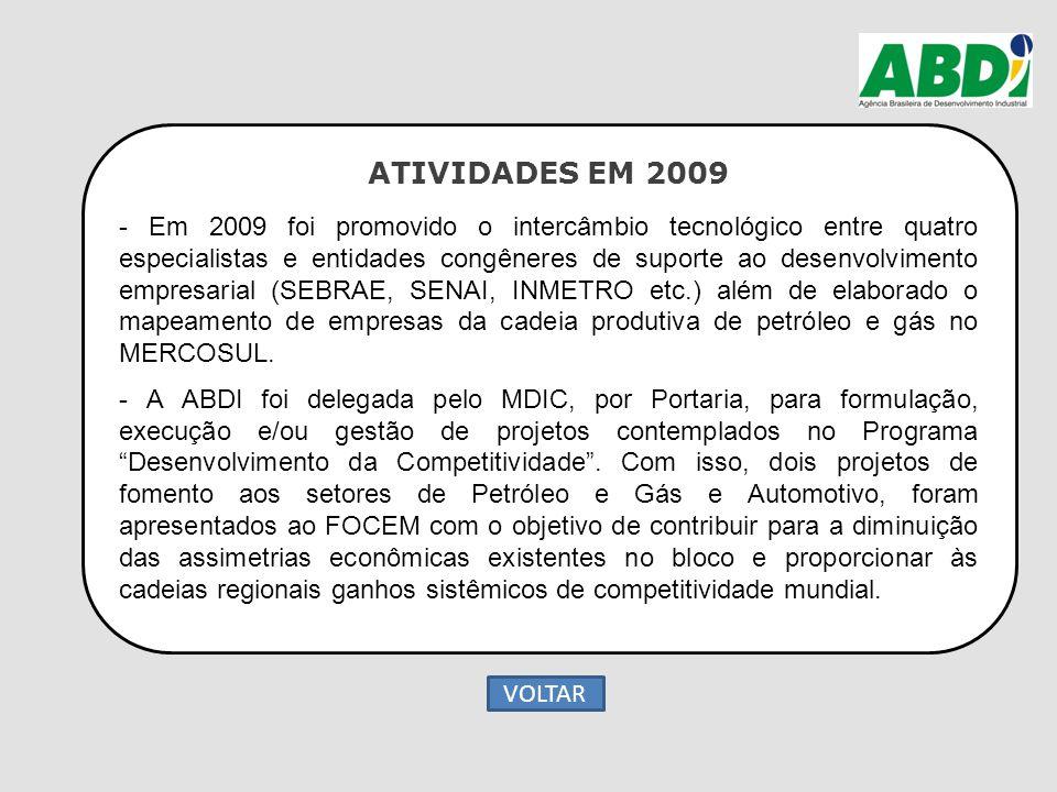 ATIVIDADES EM 2009 - Em 2009 foi promovido o intercâmbio tecnológico entre quatro especialistas e entidades congêneres de suporte ao desenvolvimento e