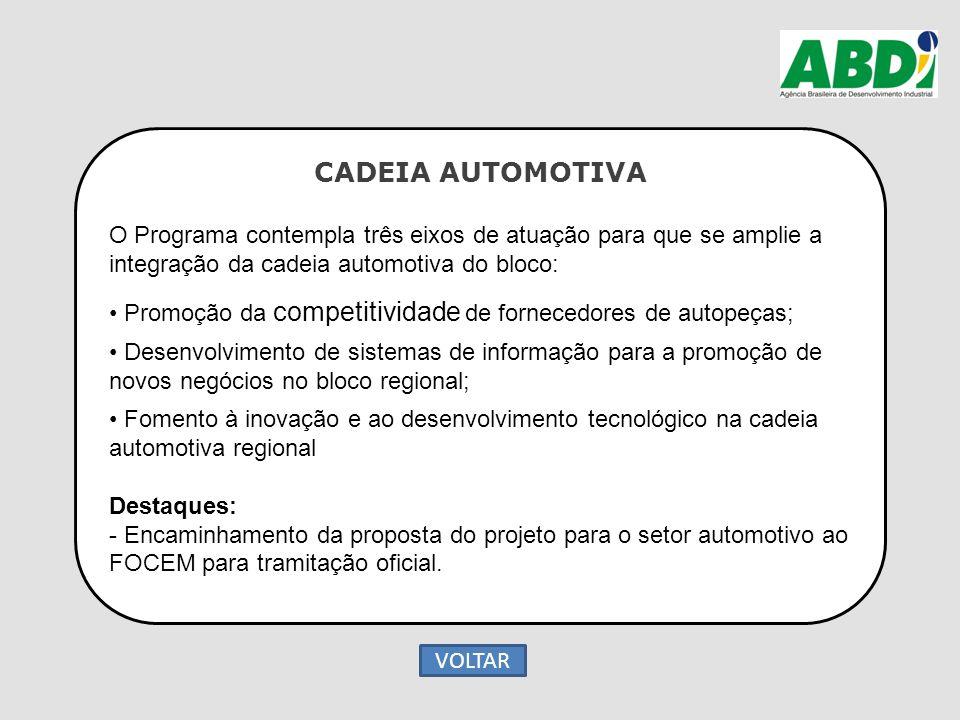 CADEIA AUTOMOTIVA O Programa contempla três eixos de atuação para que se amplie a integração da cadeia automotiva do bloco: Promoção da competitividad