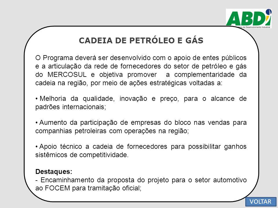 CADEIA DE PETRÓLEO E GÁS O Programa deverá ser desenvolvido com o apoio de entes públicos e a articulação da rede de fornecedores do setor de petróleo