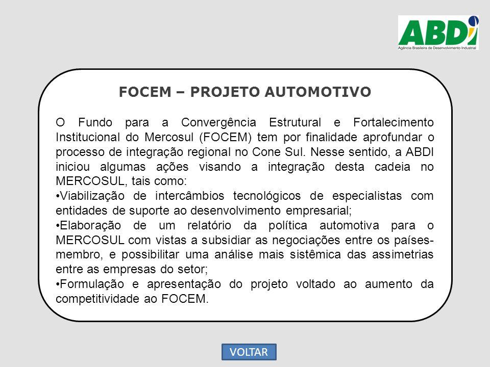 FOCEM – PROJETO AUTOMOTIVO O Fundo para a Convergência Estrutural e Fortalecimento Institucional do Mercosul (FOCEM) tem por finalidade aprofundar o p