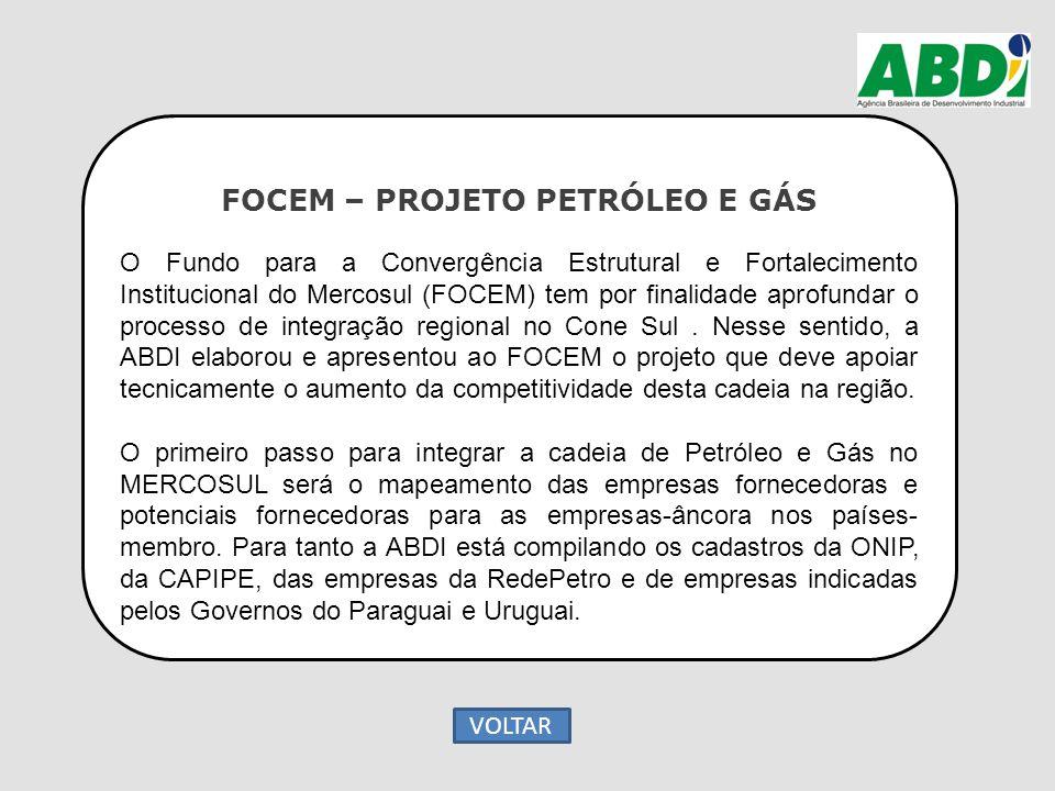 FOCEM – PROJETO PETRÓLEO E GÁS O Fundo para a Convergência Estrutural e Fortalecimento Institucional do Mercosul (FOCEM) tem por finalidade aprofundar