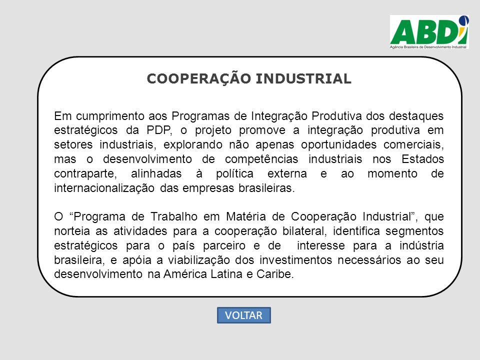 COOPERAÇÃO INDUSTRIAL Em cumprimento aos Programas de Integração Produtiva dos destaques estratégicos da PDP, o projeto promove a integração produtiva