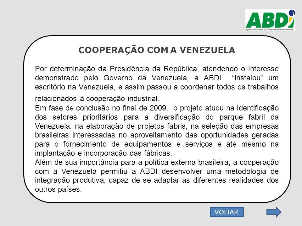 """COOPERAÇÃO COM A VENEZUELA Por determinação da Presidência da República, atendendo o interesse demonstrado pelo Governo da Venezuela, a ABDI """"instalou"""