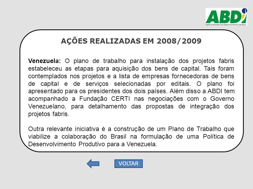 AÇÕES REALIZADAS EM 2008/2009 Venezuela: O plano de trabalho para instalação dos projetos fabris estabeleceu as etapas para aquisição dos bens de capi