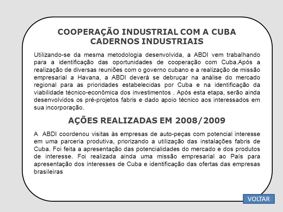 COOPERAÇÃO INDUSTRIAL COM A CUBA CADERNOS INDUSTRIAIS Utilizando-se da mesma metodologia desenvolvida, a ABDI vem trabalhando para a identificação das
