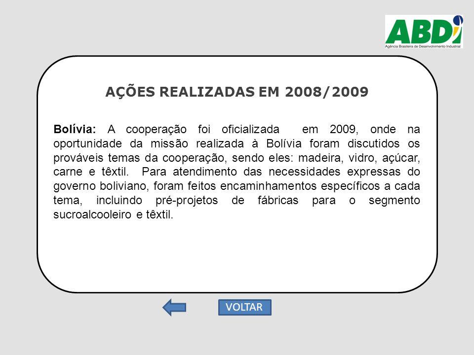 AÇÕES REALIZADAS EM 2008/2009 Bolívia: A cooperação foi oficializada em 2009, onde na oportunidade da missão realizada à Bolívia foram discutidos os p