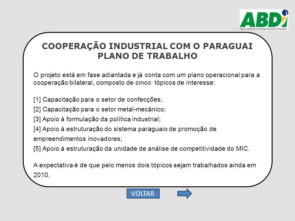 COOPERAÇÃO INDUSTRIAL COM O PARAGUAI PLANO DE TRABALHO O projeto está em fase adiantada e já conta com um plano operacional para a cooperação bilatera