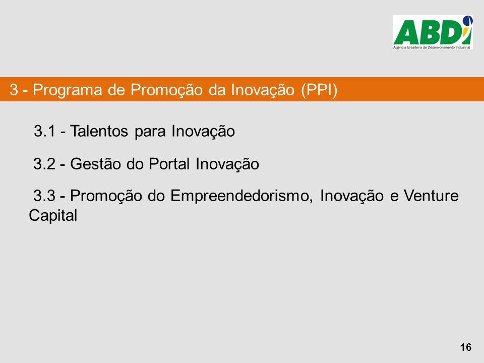 16 3 - Programa de Promoção da Inovação (PPI) 3.1 - Talentos para Inovação 3.2 - Gestão do Portal Inovação 3.3 - Promoção do Empreendedorismo, Inovaçã