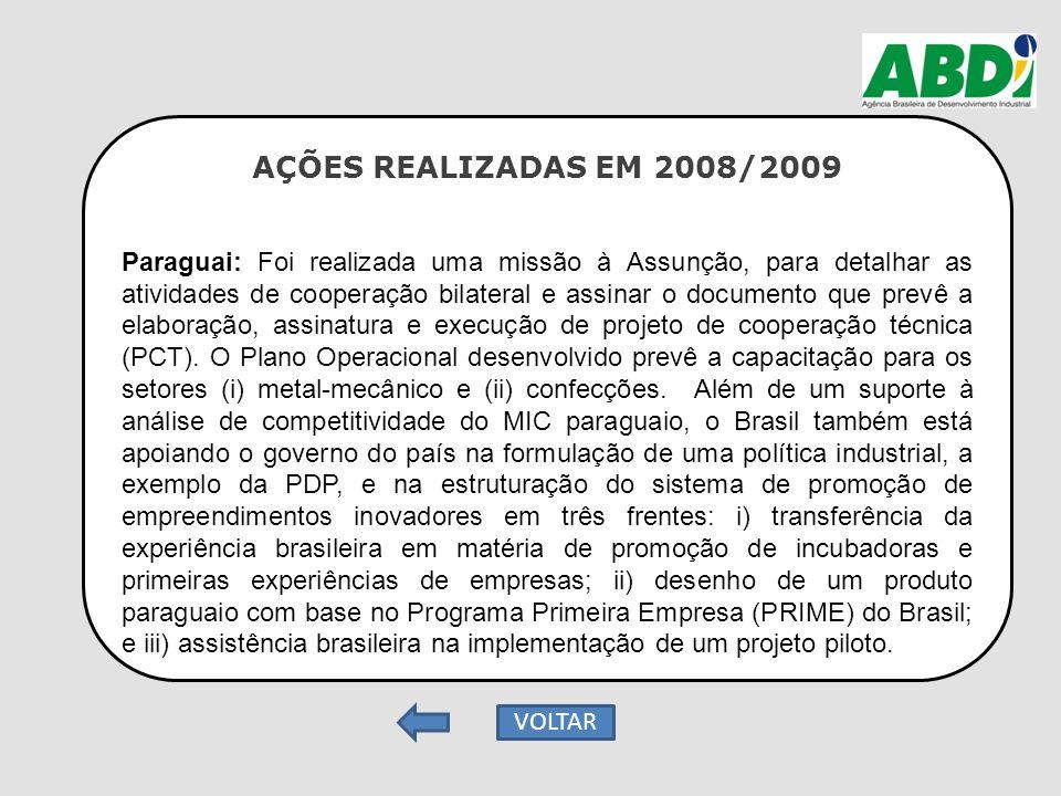 AÇÕES REALIZADAS EM 2008/2009 Paraguai: Foi realizada uma missão à Assunção, para detalhar as atividades de cooperação bilateral e assinar o documento