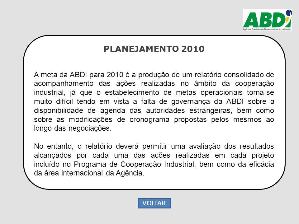 PLANEJAMENTO 2010 A meta da ABDI para 2010 é a produção de um relatório consolidado de acompanhamento das ações realizadas no âmbito da cooperação ind