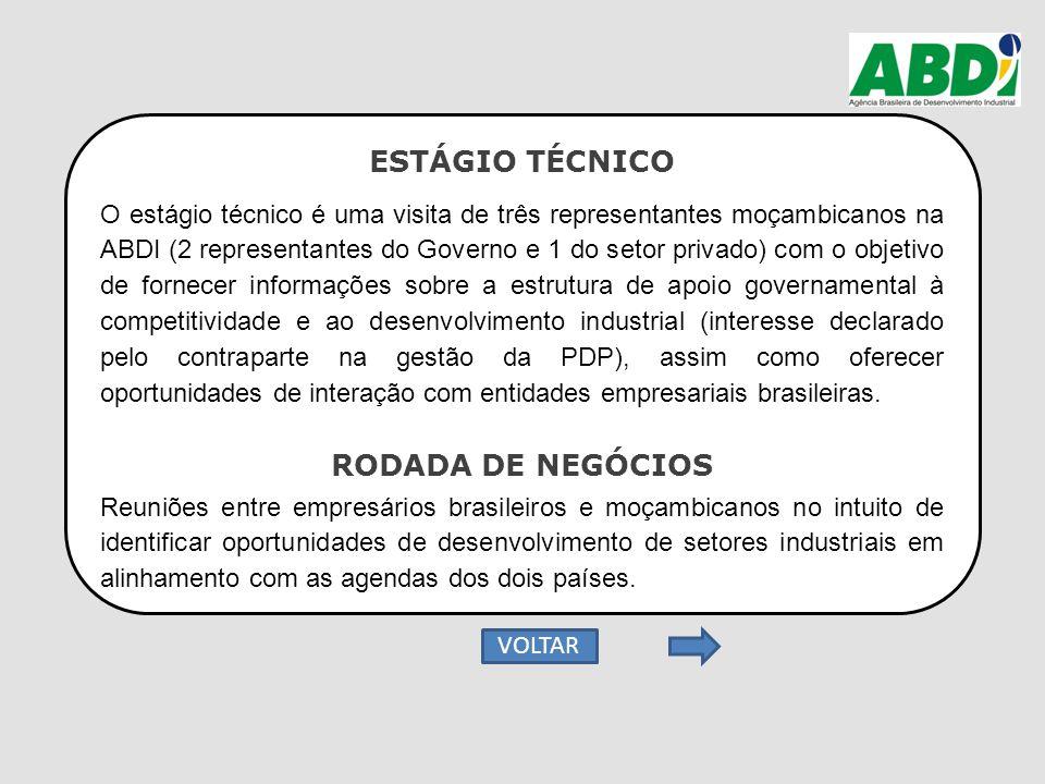 ESTÁGIO TÉCNICO O estágio técnico é uma visita de três representantes moçambicanos na ABDI (2 representantes do Governo e 1 do setor privado) com o ob