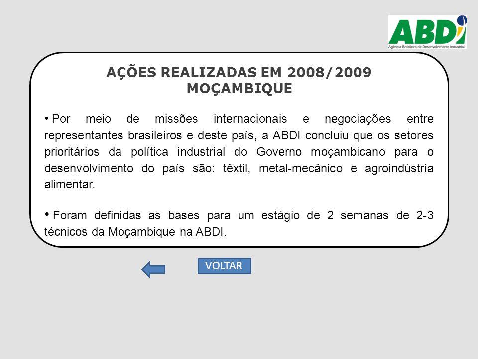 AÇÕES REALIZADAS EM 2008/2009 MOÇAMBIQUE Por meio de missões internacionais e negociações entre representantes brasileiros e deste país, a ABDI conclu