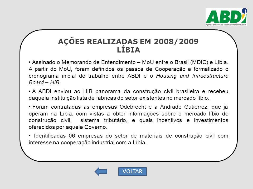 AÇÕES REALIZADAS EM 2008/2009 LÍBIA Assinado o Memorando de Entendimento – MoU entre o Brasil (MDIC) e Líbia. A partir do MoU, foram definidos os pass