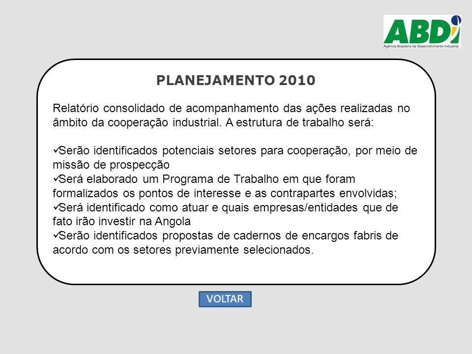 PLANEJAMENTO 2010 Relatório consolidado de acompanhamento das ações realizadas no âmbito da cooperação industrial. A estrutura de trabalho será: Serão