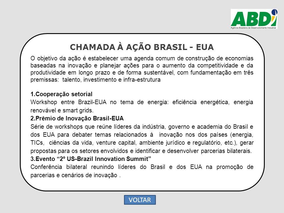 CHAMADA À AÇÃO BRASIL - EUA O objetivo da ação é estabelecer uma agenda comum de construção de economias baseadas na inovação e planejar ações para o