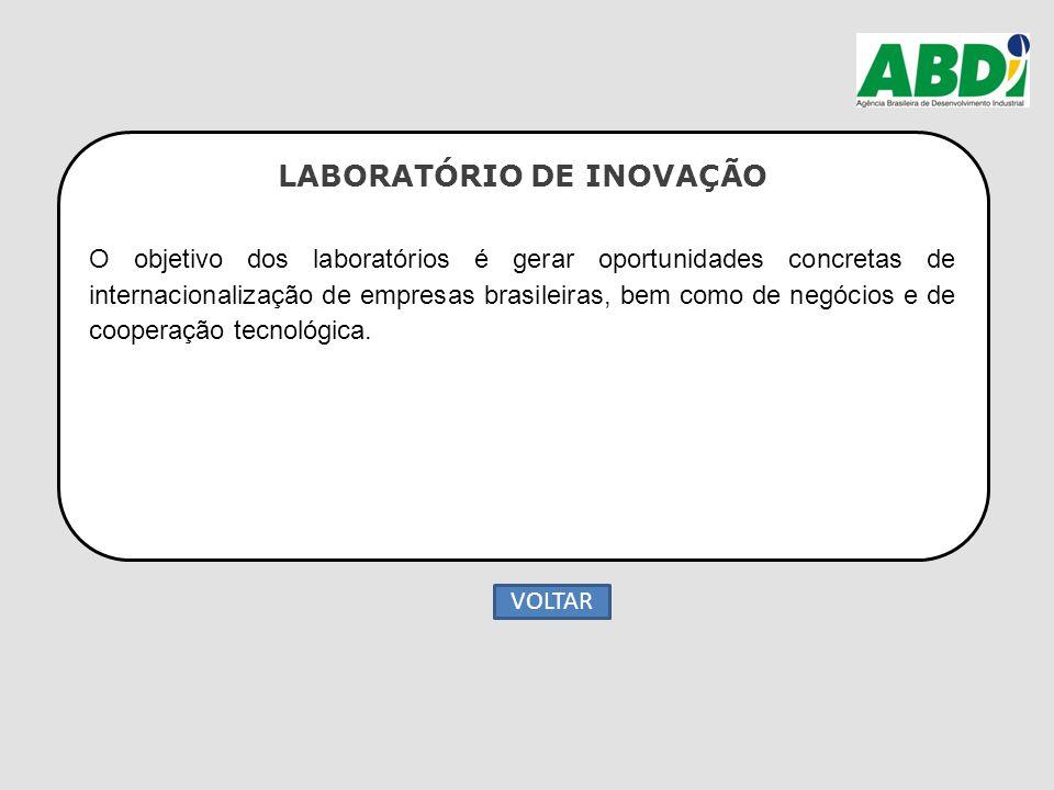 LABORATÓRIO DE INOVAÇÃO O objetivo dos laboratórios é gerar oportunidades concretas de internacionalização de empresas brasileiras, bem como de negóci