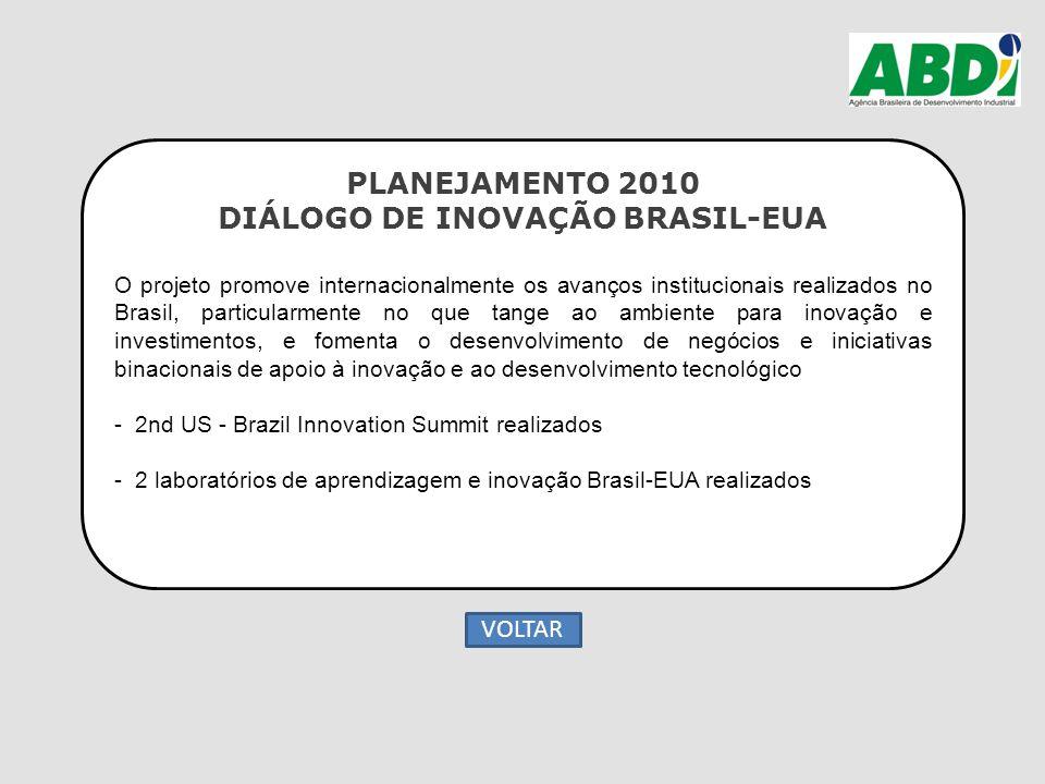 PLANEJAMENTO 2010 DIÁLOGO DE INOVAÇÃO BRASIL-EUA O projeto promove internacionalmente os avanços institucionais realizados no Brasil, particularmente