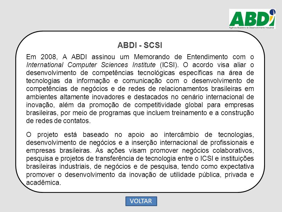 ABDI - SCSI Em 2008, A ABDI assinou um Memorando de Entendimento com o International Computer Sciences Institute (ICSI). O acordo visa aliar o desenvo