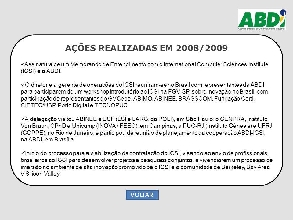 AÇÕES REALIZADAS EM 2008/2009 Assinatura de um Memorando de Entendimento com o International Computer Sciences Institute (ICSI) e a ABDI. O diretor e