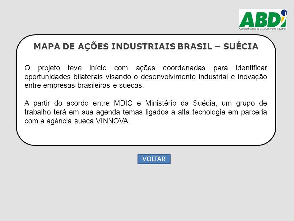 MAPA DE AÇÕES INDUSTRIAIS BRASIL – SUÉCIA O projeto teve início com ações coordenadas para identificar oportunidades bilaterais visando o desenvolvime
