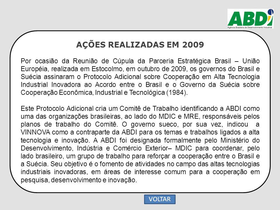 AÇÕES REALIZADAS EM 2009 Por ocasião da Reunião de Cúpula da Parceria Estratégica Brasil – União Européia, realizada em Estocolmo, em outubro de 2009,