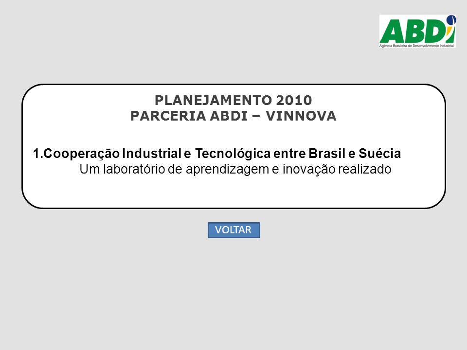 PLANEJAMENTO 2010 PARCERIA ABDI – VINNOVA 1.Cooperação Industrial e Tecnológica entre Brasil e Suécia Um laboratório de aprendizagem e inovação realiz