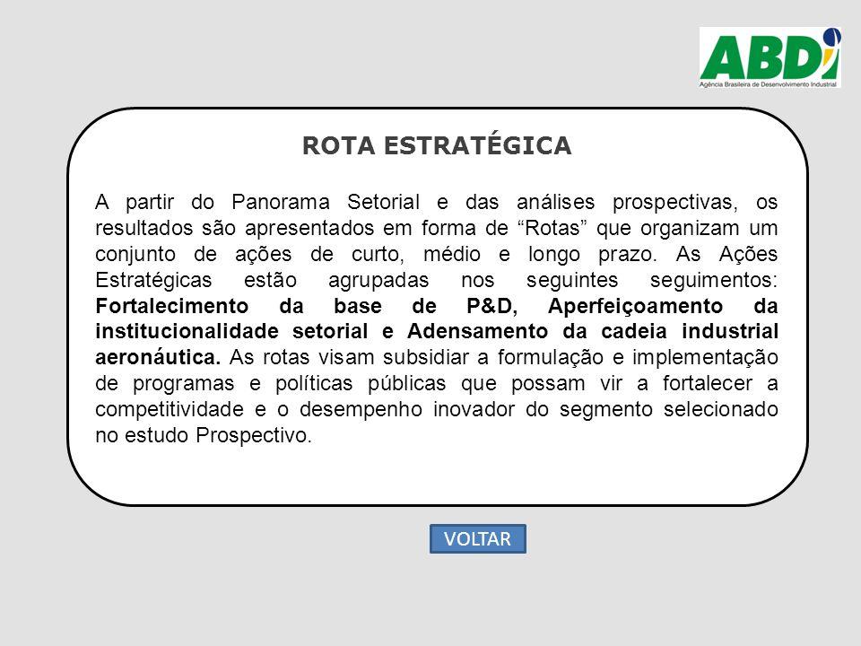 """ROTA ESTRATÉGICA A partir do Panorama Setorial e das análises prospectivas, os resultados são apresentados em forma de """"Rotas"""" que organizam um conjun"""