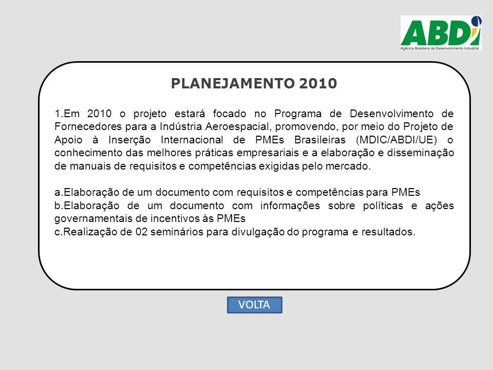PLANEJAMENTO 2010 1.Em 2010 o projeto estará focado no Programa de Desenvolvimento de Fornecedores para a Indústria Aeroespacial, promovendo, por meio