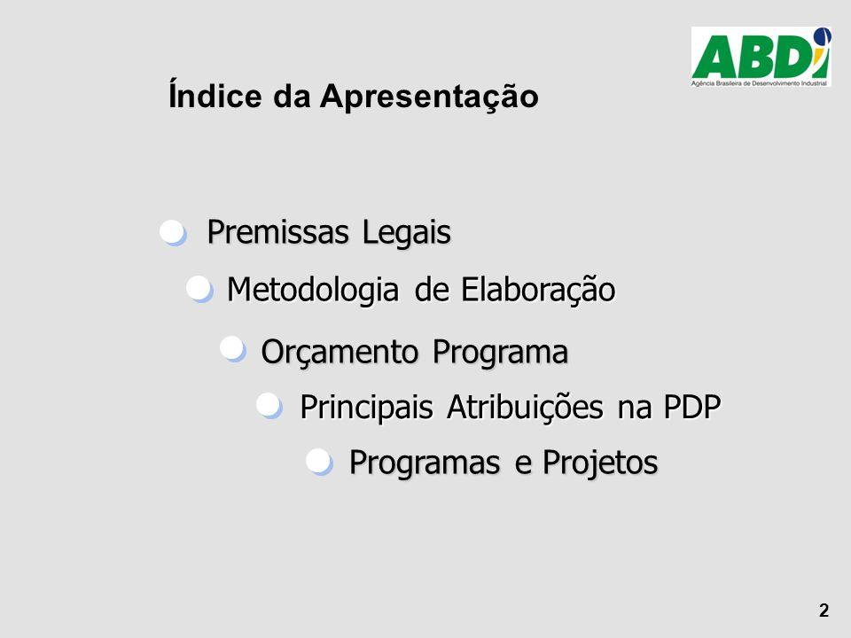 2 Premissas Legais Premissas Legais Metodologia de Elaboração Metodologia de Elaboração Orçamento Programa Orçamento Programa Principais Atribuições n